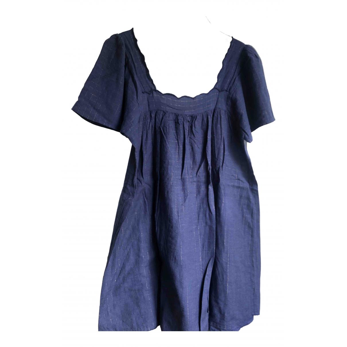 Sezane \N Kleid in  Marine Baumwolle