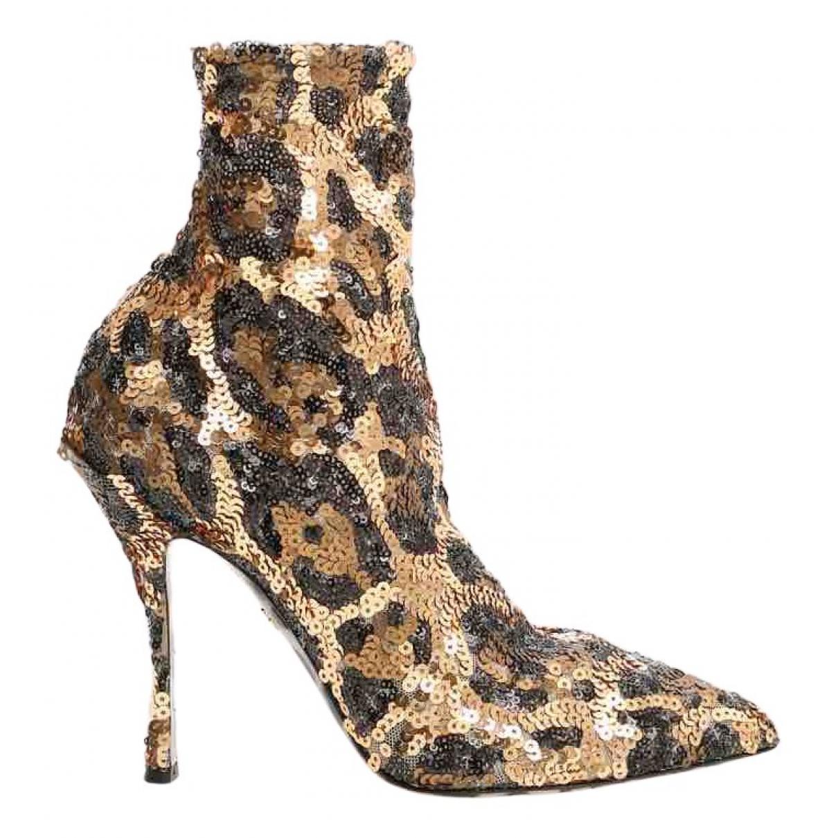 Dolce & Gabbana - Boots   pour femme en a paillettes - dore