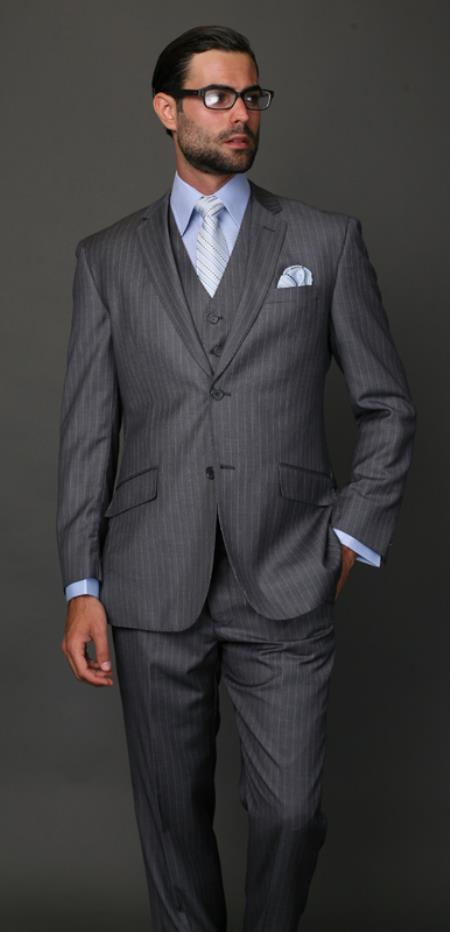 Mens Classic 2 Button Charcoal Pinstripe 3 Piece Italian Fabric Suit