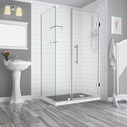 SEN962EZ-CH-573536-10 Bromleygs 56.25 To 57.25 X 36.375 X 72 Frameless Corner Hinged Shower Enclosure With Glass Shelves In