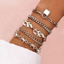 5pcs Flame & Thorn Decor Chain Bracelet