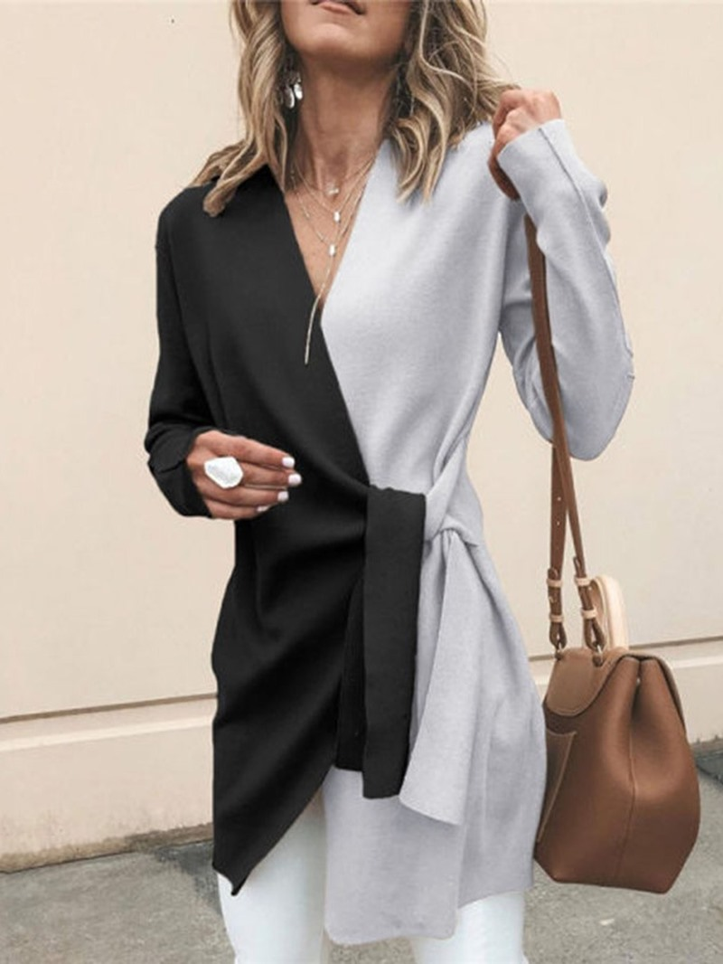 Ericdress Lace-Up V-Neck Lace-Up Long Sleeve Western Trench Coat