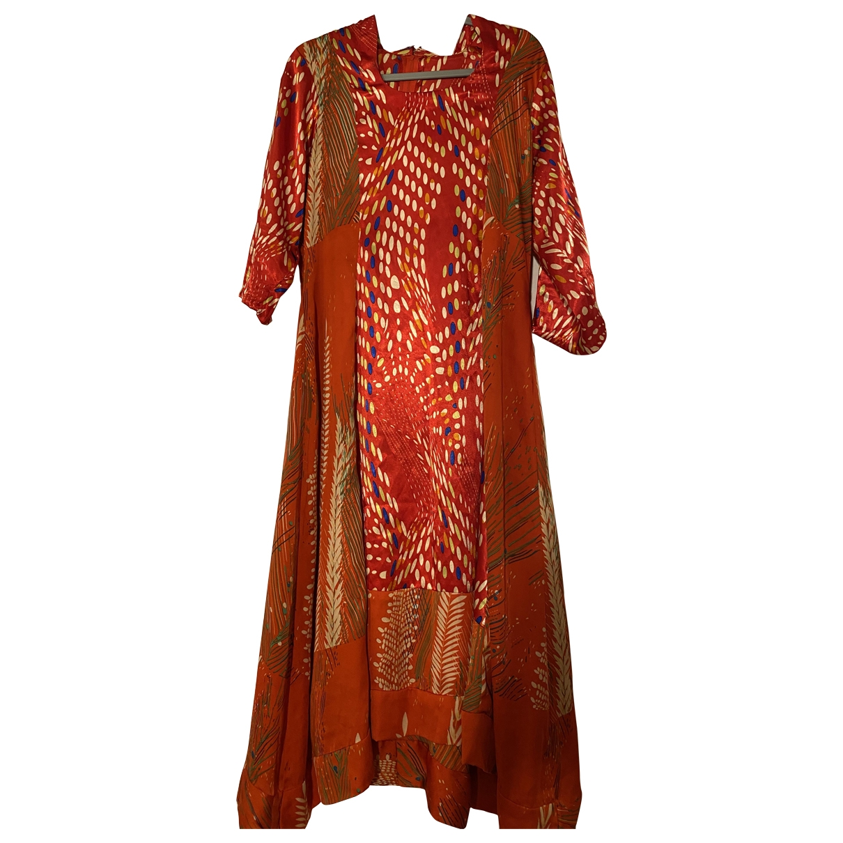 Non Signe / Unsigned Hippie Chic Kleid in  Rot Polyester