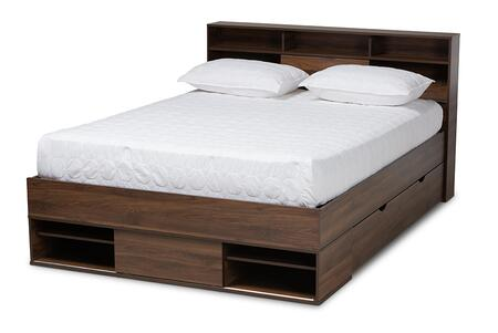 SEBED13017026-COLUMBIA-QUEEN Baxton Studio Tristan Modern and Contemporary Walnut Brown Finished Wood 1-Drawer Queen Size Platform Storage Bed with