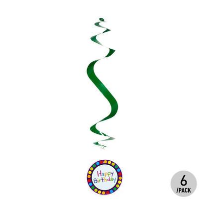 Anniversaire Paper Party Swirl & Découpes Décorations 6Pcs -Vert- LivingBasics ™