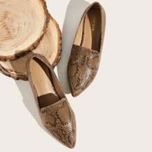 Zapatillas con estampado de piel de serpiente de punta