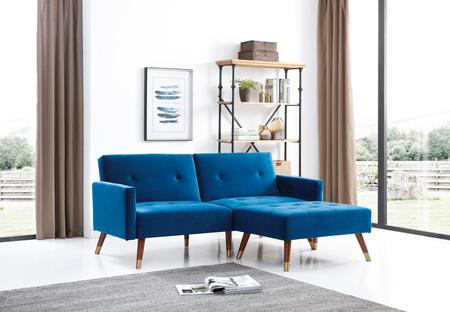 Turin Collection G0163SET 2-Piece Living Room Set with Sofa Bed and Ottoman in Navy