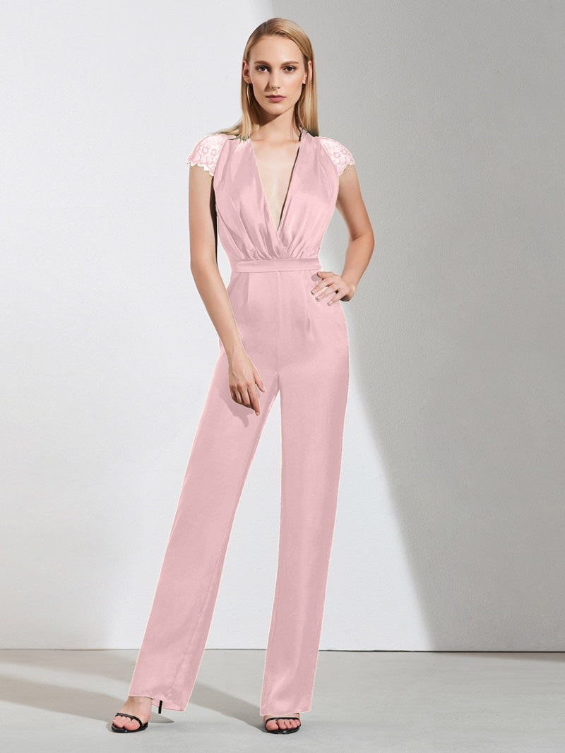 Ericdress Sheath Cap Sleeve V Neck Evening Jumpsuits