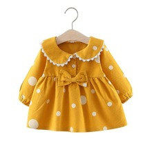 Toddler Girls Polka Dot Bow Front Peter Pan Collar Babydoll Blouse