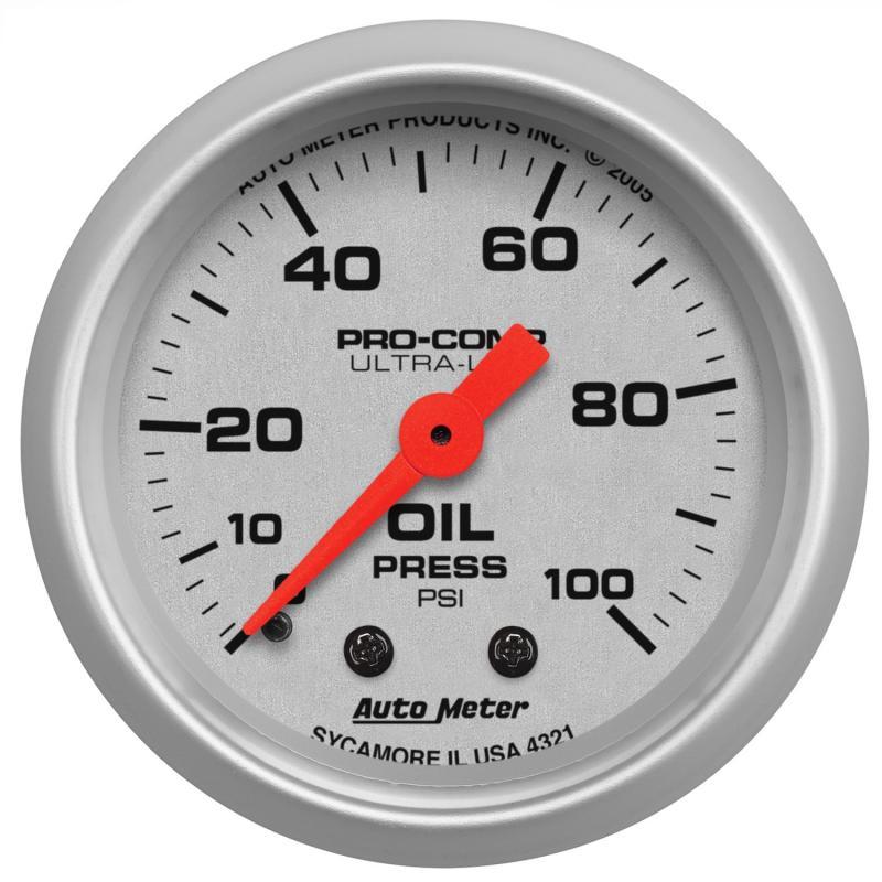 AutoMeter GAUGE; OIL PRESSURE; 2 1/16in.; 100PSI; MECHANICAL; ULTRA-LITE