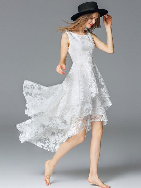 Milanoo Vestido largo blanco  Moda Mujer Color liso sin mangas Vestidos de organza en capas con volante fruncido con escote redondo Verano para fiesta