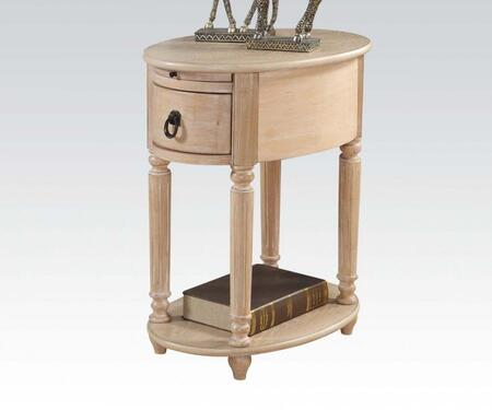 Peniel Collection 80507 16 Side Table with 1 Drawer  Tray  Bottom Shelf  Antique Brass Hardware  Rubberwood and Oak Veneer Materials in White Washed