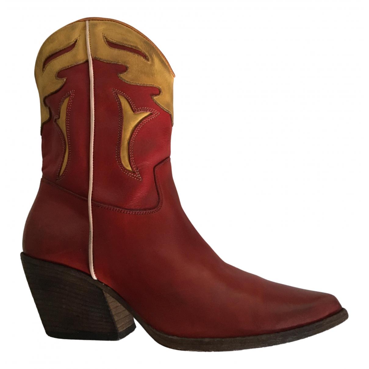 Elena Iachi - Boots   pour femme en cuir - rouge