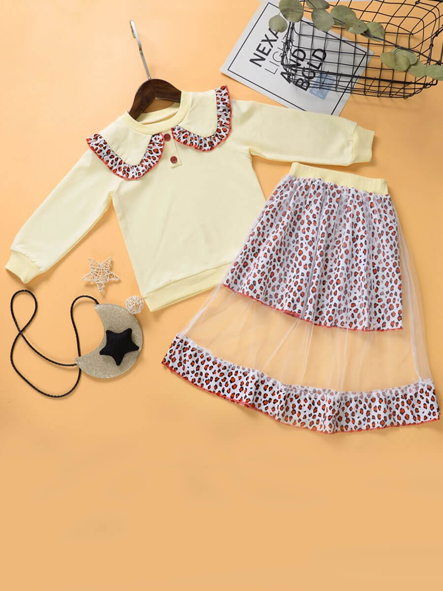 LW Lovely Sweet Sailor Collar Mesh Patchwork Apricot Girl Two-piece Skirt Set