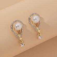 Faux Pearl & Rhinestone Decor Earrings