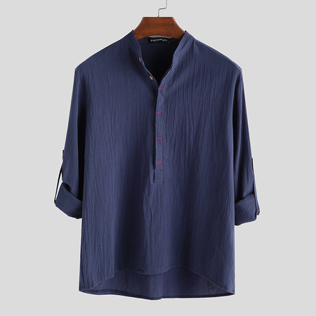Yoins INCERUN Men Casual Cotton Linen Button Down Long Sleeve Shirt