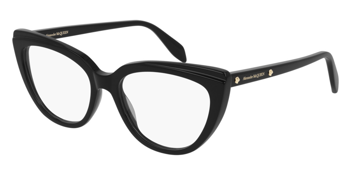 Alexander McQueen AM0253O 001 Women's Glasses Black Size 53 - Free Lenses - HSA/FSA Insurance - Blue Light Block Available