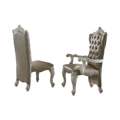 BM191296 Faux Leather Upholstered Wooden Side Chair with Scrolled Carvings  White  Set of