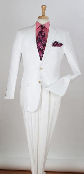 Men's 2 Piece Single Breasted Two Buttons Side Regular White Suit