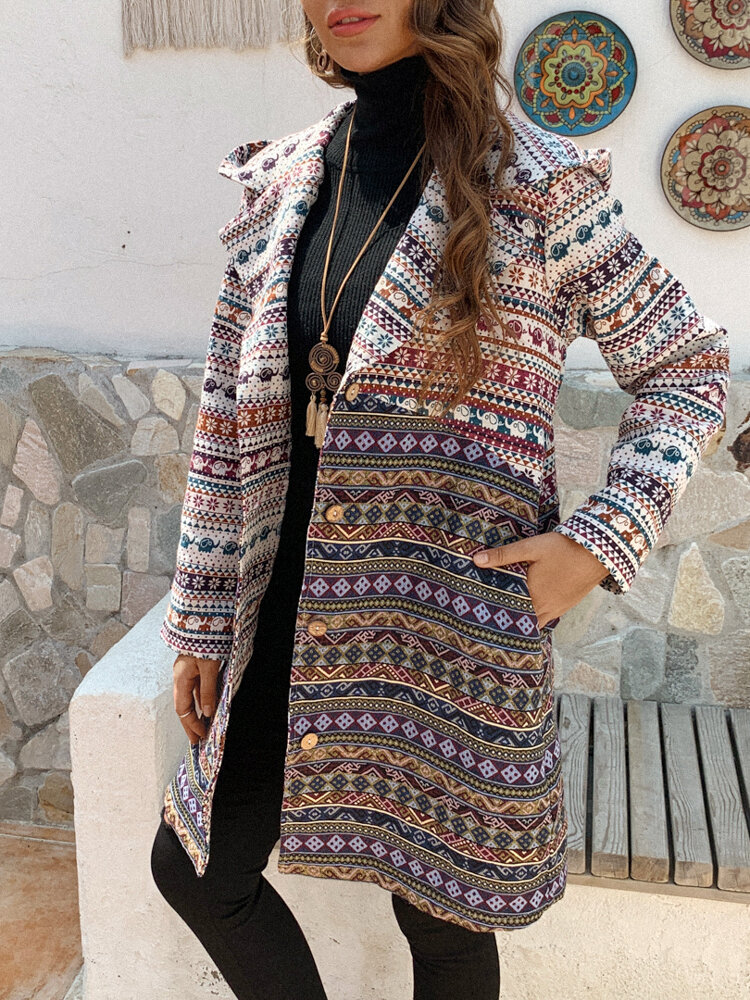 Ethnic Print Long Sleeve Vintage Hooded Plus Size Coat