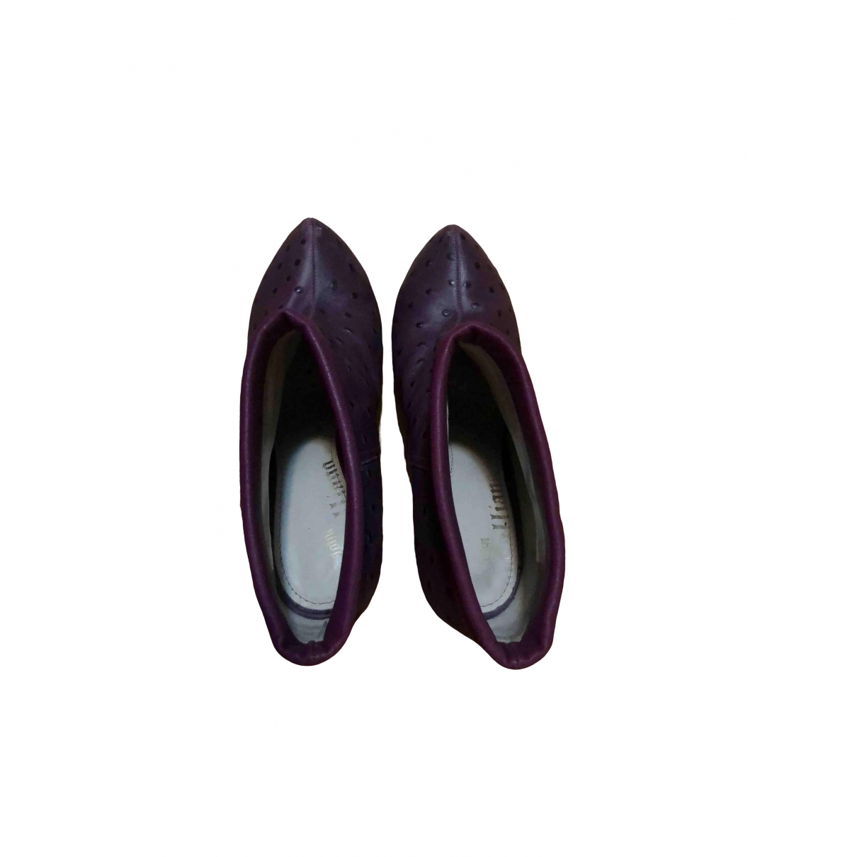 John Galliano \N Burgundy Leather Ankle boots for Women 40.5 EU