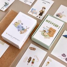 100 piezas tarjeta de nota al azar con estampado de dibujos animados