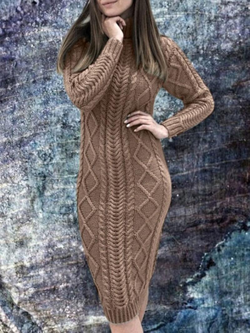 Ericdress Turtleneck Knee-Length Long Sleeve Mid Waist Regular Dress