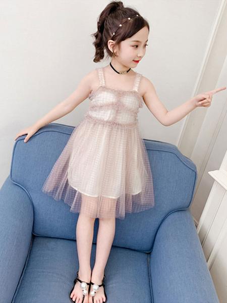 Milanoo Toddler Age 4-13 Girls Short Dress Apricot Kids Polyester Girls Short Dresses