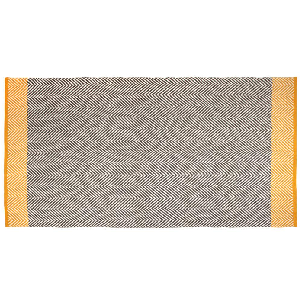 Baumwollteppich mit Grafikmustern, grau und ecru 140x200