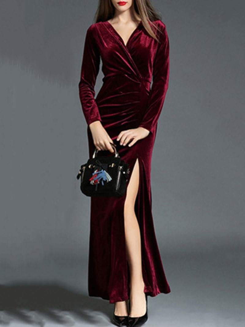 Ericdress Long Sleeve Ankle-Length Split Fall Pullover Dress