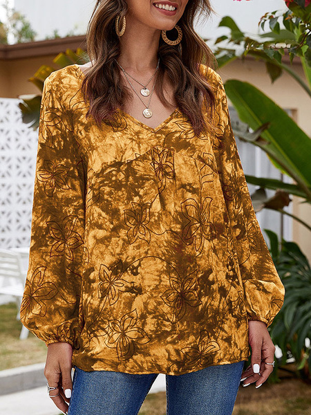 Milanoo Blouse For Women Rose Polyester V-Neck Casual Floral Print Long Sleeves Tops