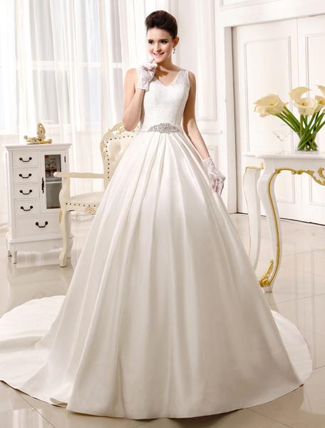 Milanoo Chapel Train Ivory Bridal Wedding Gown with V-Neck A-line Rhinestone