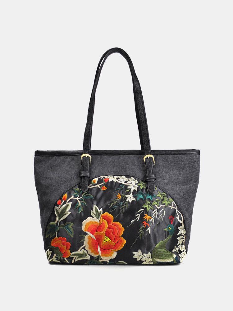 Women Ethnic Embroidered Floral Handbag Shoulder Bag Tote