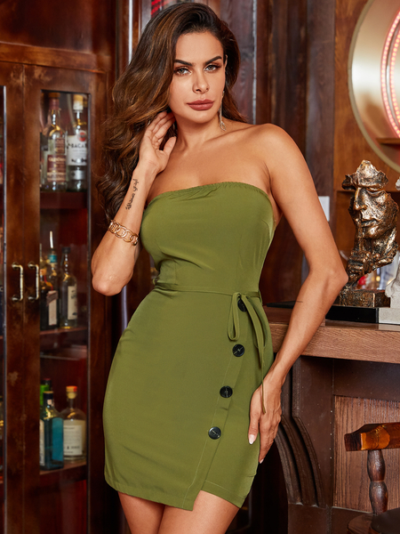 YOINS Army Green Belted Backless Design Tube Sleeveless Dress