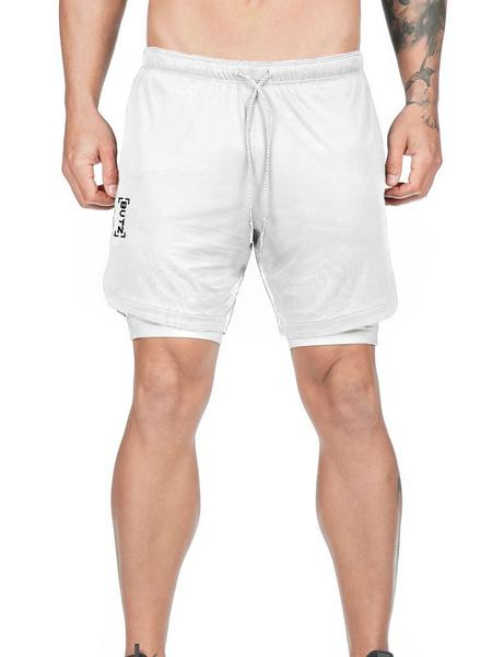 Milanoo Hombres Pantalones cortos de entrenamiento 2 en 1 Running Pantalones deportivos ligeros de gimnasia