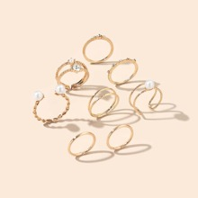 8 Stuecke Ring mit Kunstperlen Dekor