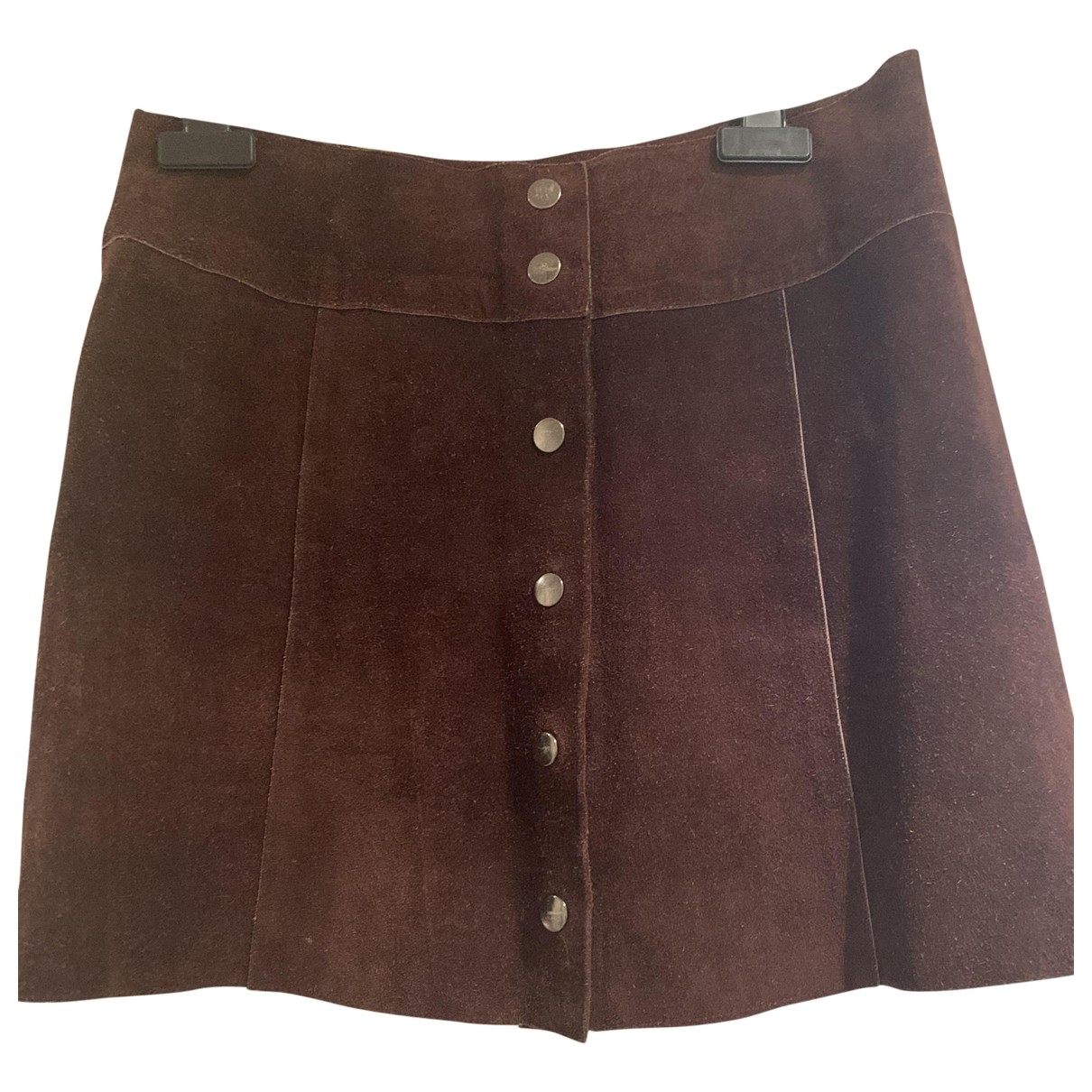 Non Signé / Unsigned Hippie Chic Brown Leather skirt for Women S International