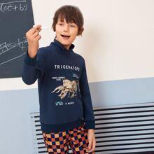Pullover mit Uberlappung, hohem Kragen, Dinosaurier Skelett & Buchstaben Grafik