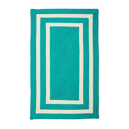 Colonial Mills Monica Double Border Braided Rectangular Reversible Indoor/Outdoor Rugs, One Size , Blue
