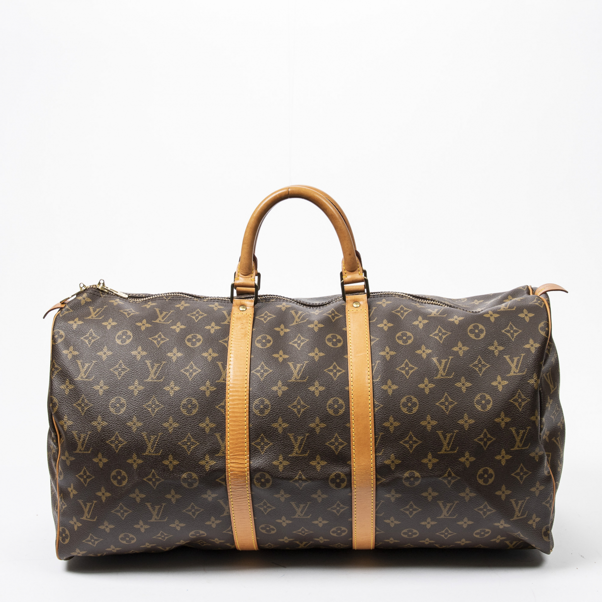 Louis Vuitton Keepall Reisetasche in  Braun Baumwolle