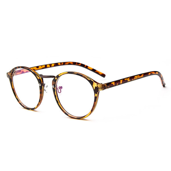 Fashion Retro Mens Women Circular Flat Glasses PC Frame Clear Lens Eyeglasses