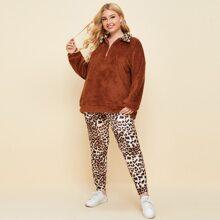 Plus Leopard Quarter Zip Teddy Sweatshirt With Leggings