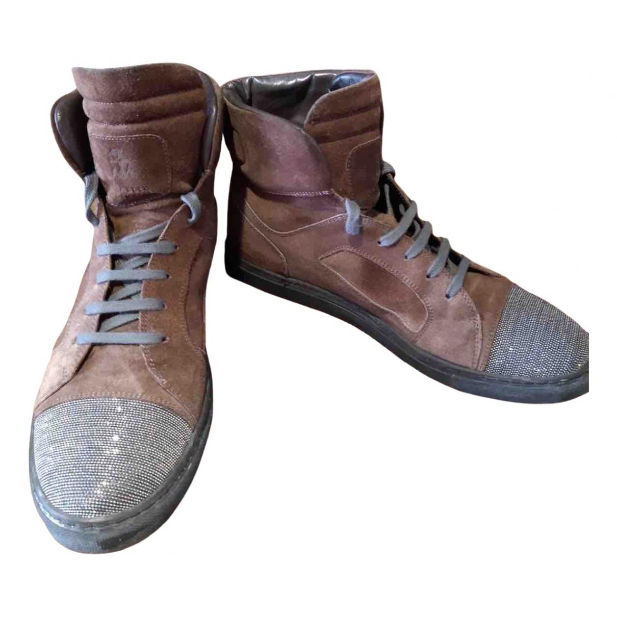 Brunello Cucinelli - Boots   pour femme en suede - marron