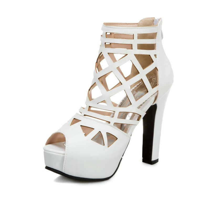 Ericdress Zipper Peep Toe Platform Plain Thin Shoes