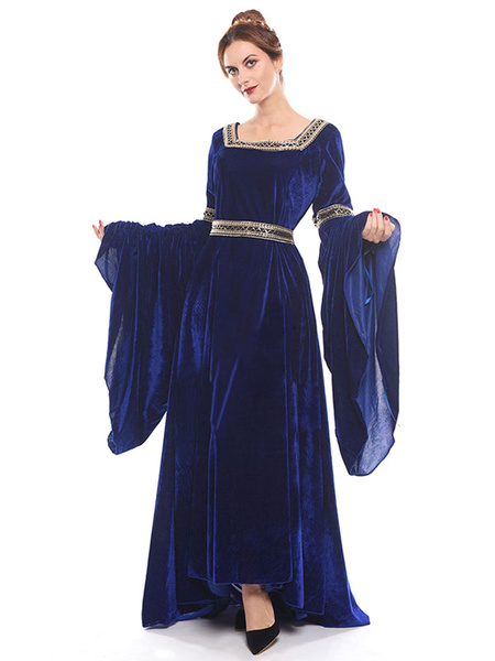 Milanoo Victorian Dress Costume Women's Royal Blue Medieval Renaissance Long Trumpet sleeve Square Neckline Victorian era Clothing Costumes Halloween