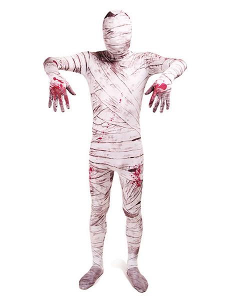 Milanoo Disfraz Halloween Trajes Zentai de Halloween Mono de lycra blanco de cuerpo completo de momia Carnaval Halloween