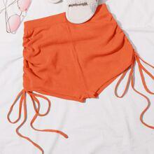 Neon orange Strick Shorts mit Kordelzug und Rueschen