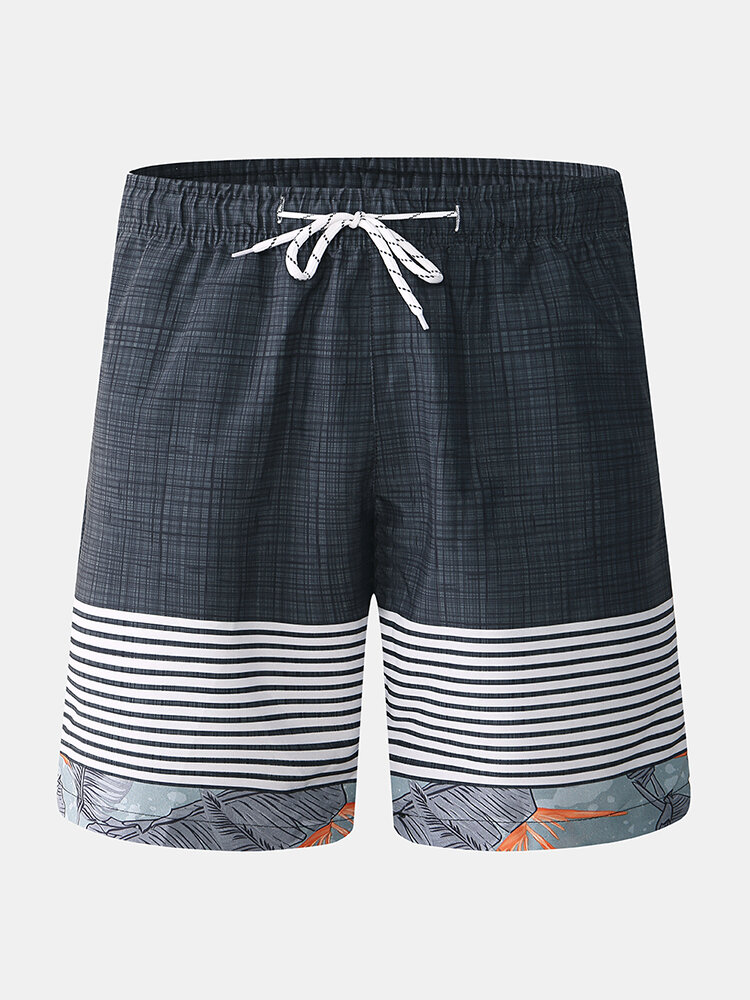 Mens Plaid Patchwork Stripes Board Shorts Quick Drying Drawstring Holiday Beach Trousers