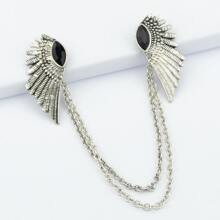 Fashionable Black Silver Feather Chain Brooch