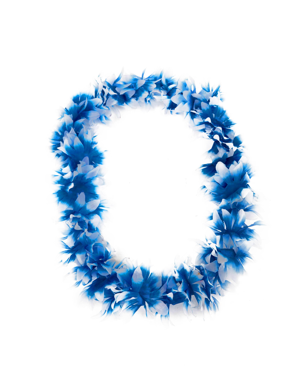 Kostuemzubehor Hawaiikette de luxe blau/weiss